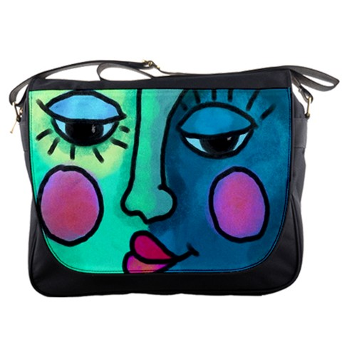 60e537f0b7a2 Abstract Art Messenger Bag My Original Digital Painting of a Funky Blue Face