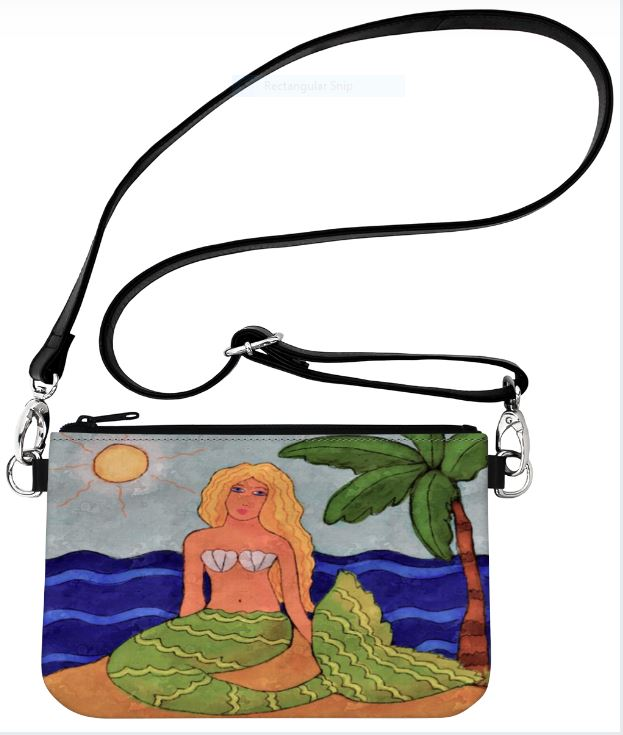 Mermaid and Palm Tree Abstract Art Clutch Bag Wristlet Hipster Bag Crossbody Purse Messenger Bag Handbag Purse Shoulder Bag