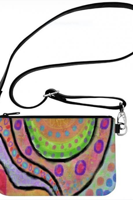 Original Abstract Art Wristlet Clutch Purse Cross Body Messenger Bag