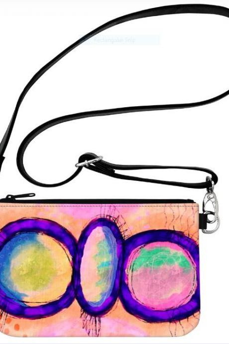 Colorful Abstract Art Wristlet Clutch Bag Handbag Purse Crossbody Handbag