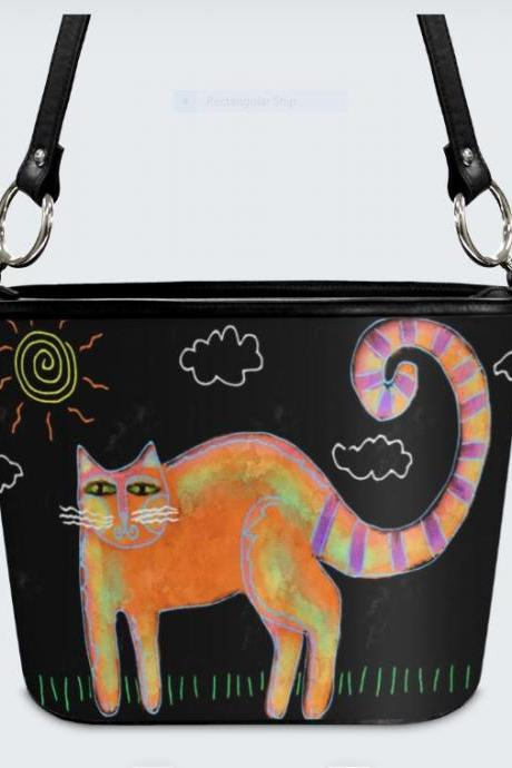 Funky Abstract Cat Art Shoulder Bag Handbag Purse