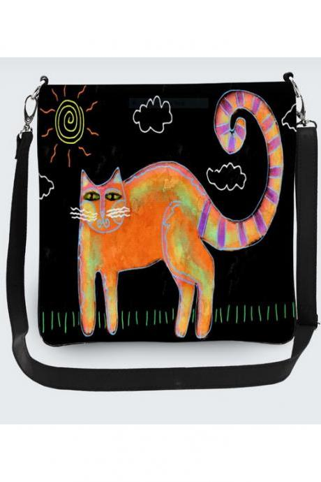 Funky Abstract Cat Art Messenger Bag Hipster Purse Crossbody Handbag Shoulder Bag Purse