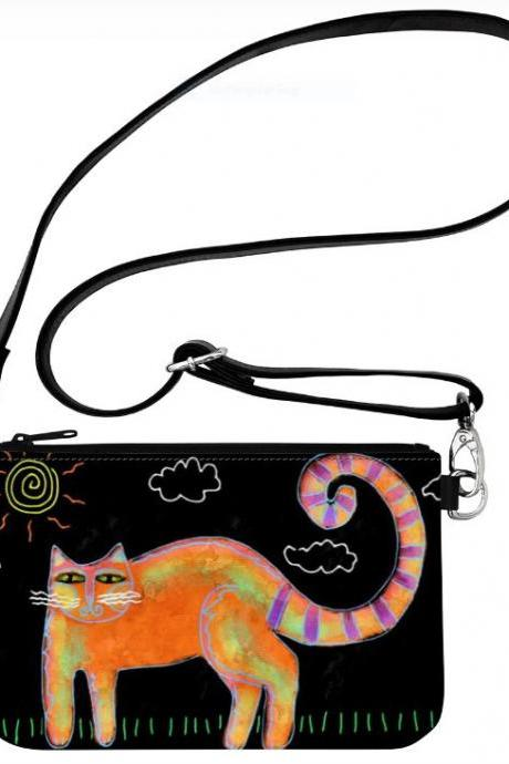 Funky Abstract Cat Art Clutch Purse Wristlet Handbag Shoulder Bag Crossbody Messenger Bag