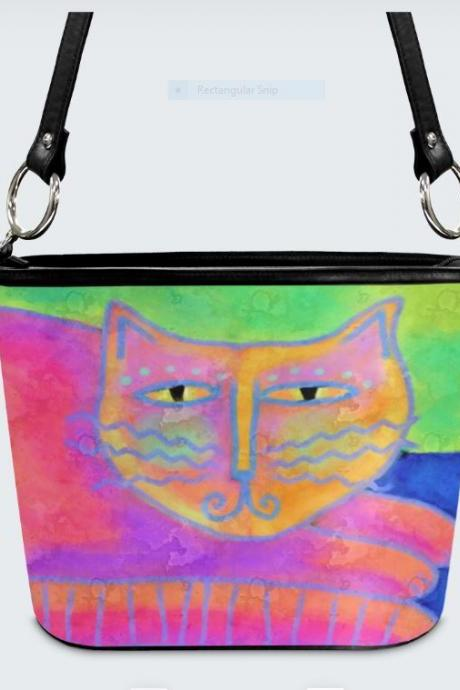 Hot Pink Cat Abstract Art Handbag Shoulder Bag Purse