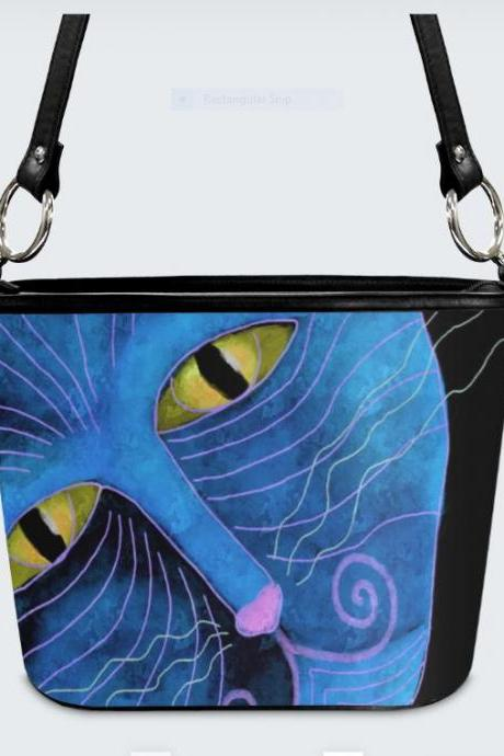 Blue Cat Face Original Abstract Art Shoulder Bag Handbag Purse