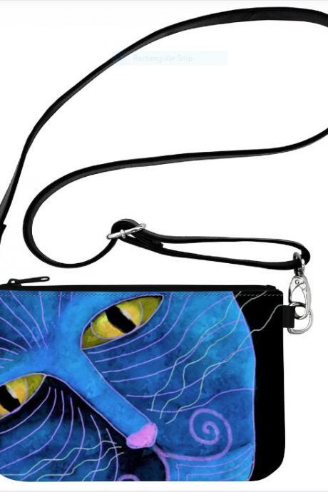 Blue Cat Face Original Abstract Art Wristlet Clutch Bag Hipster Purse Cross Body Messenger Shoulder Bag Handbag Purse
