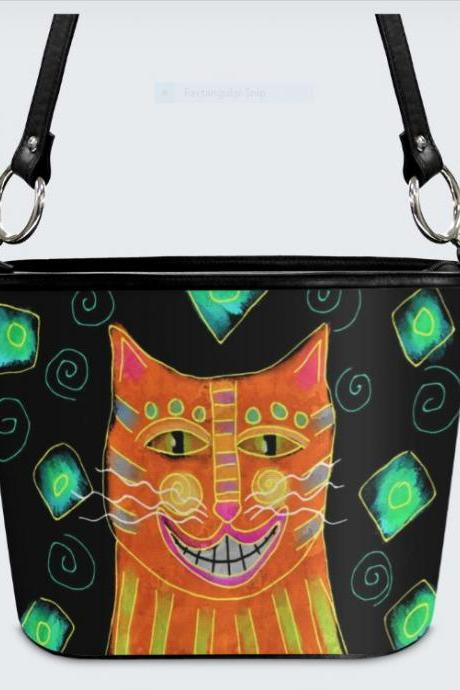 Smiling Orange Cat Abstract Art Shoulder Bag Handbag Purse