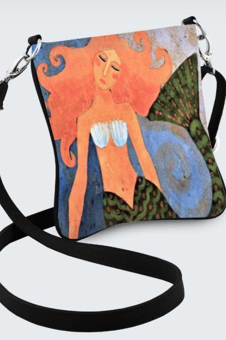 Beautiful Abstract Art Mermaid Hipster Messenger Crossbody Handbag Shoulder Bag Purse