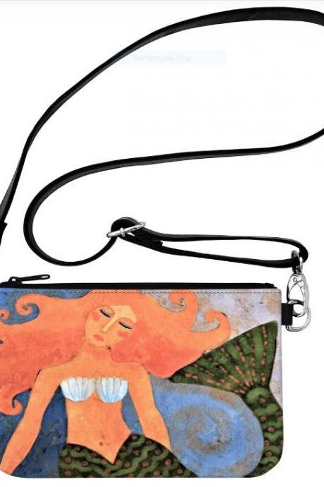 Beautiful Abstract Art Mermaid Wristlet Clutch Bag Hipster Messenger Crossbody Handbag Shoulder Bag Purse