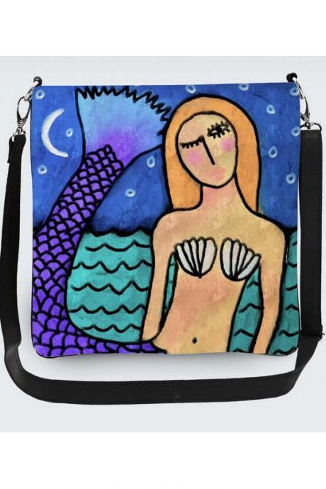 Moonlight Mermaid Abstract Art Handbag Purse Shoulder Bag Crossbody Bag Messenger Bag Hipster Purse