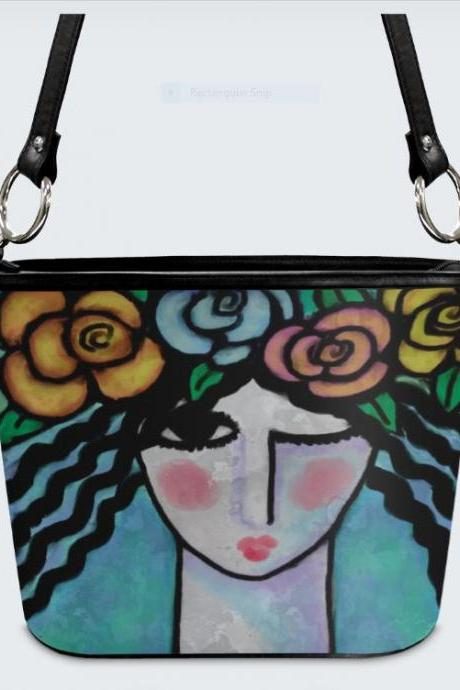 Flowers in Her Hair Original Abstract Art Handbag Purse Shoulder Bag