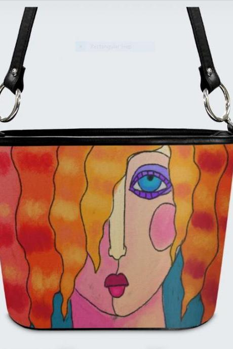 Wild Orange Hair Original Abstract Art Handbag Shoulder Bag Purse