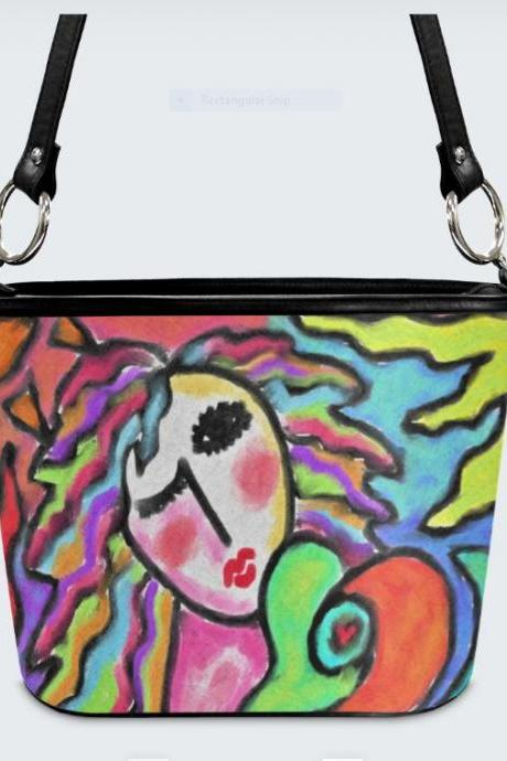 Funky Abstract Painting on Handbag Shoulder Bag Purse