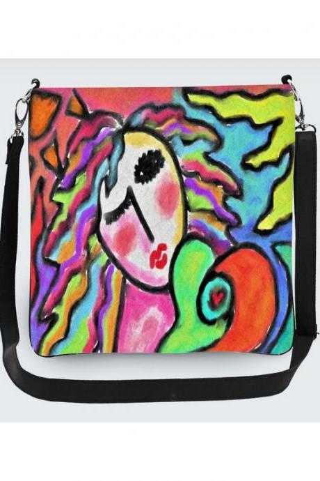 Funky Abstract Painting on Handbag Shoulder Bag Purse Messenger Bag Hipster Purse Cross Body Handbag