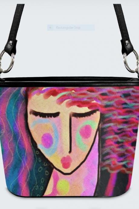 Colorful Abstract Painting on Handbag Purse Shoulder Bag