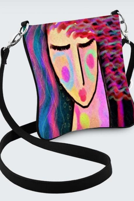 Colorful Abstract Painting on Handbag Purse Shoulder Bag Messenger Bag Cross Body Purse Hipster Handbag
